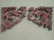 Antique Chinese 17th Century Pair Of Carved Wooden Corbal Red Deers Under Pine
