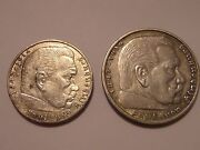 German Lot 1939a 2 Reichsmark And 1936a 5 Reichsmark With Some Doubling Was 125