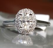 Natural Oval Diamond G-vs1 Gia Halo 14k W Gold Engagement Ring .72 Ctw Sz 6.5