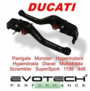 All Ducati Evotech Performance Short Black Brake And Clutch Levers Set
