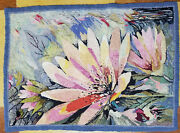 Antique Mid Century Mcm Vintage Hooked Rug Bright Floral Abstract Decoration