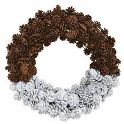 Artificial 20 Half Frosted Snow Pine Cone Wreath Winter Holiday Decor