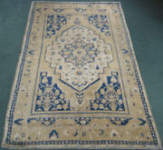 Semi-antique Turkish Oushak Rug Hand Knotted Wool 6.1x10.3 63901 Teal Yellow