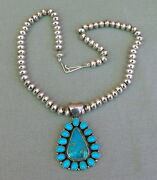 New Navajo Handmade Sterling Silver Saucer Bead Turquoise Pendant Necklace