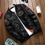 Menand039s Air Force Suit Motorcycle Leather Jacket Flight Embroidered Coat Autumn