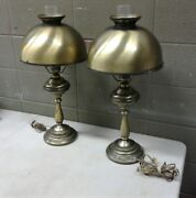 Pair Vintage Polished Brass Steel Bankers Electric Oil Lamp Patina 26 Tall Tb