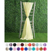 20 Pcs Premium Chiffon Wide Chair Sashes For Wedding Party Decorations Supplies