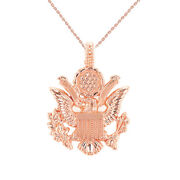 Solid 10k Rose Gold American Eagle Coat Of Arms Pendant Necklace