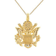 Solid 14k Yellow Gold American Eagle Coat Of Arms Pendant Necklace