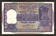 India Large 100 Rupees 1962-67 Birth Date Serial 04-09-79 Pick 45 Nice Grade