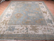 8x10 Oushak Allover-pattern Muted Vegetable Dye Handmade-knotted Wool Rug 581380