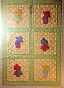 Sunbonnet Sue And Overall Sam Quilt Reproduction 1930and039s Cotton Fabrics 32x46
