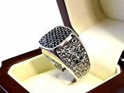 14k White Gold Mens Ring With Black Diamonds By Sacred Angels