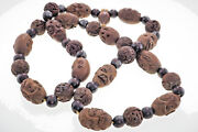 Antique Carved Nut Faces Shou Dragon Prayer Bead Necklace Lohan Arhat Mala Beads