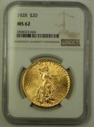 1928 Us St. Gaudens Double Eagle 20 Gold Coin Ngc Ms-62 Better