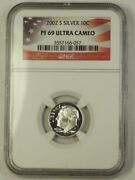 2002-s Us Silver Roosevelt Dime 10c Coin Ngc Pr-69 Ultra Cameo