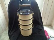 Vintage Graniteware Cream Colored Stacking Lunch Pail/bucket