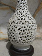 Old Blanc De Chine Reticulated Lamps Pierced Porcelain White Hollywood Regency
