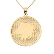 Solid 14k Yellow Gold Leo Zodiac Disc Pendant Necklace