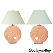 Hollywood Regency 1980s Pink Swirl Shell Form Ceramic And Lucite Round Table Lamps