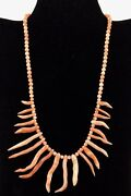 Genuine Pink Coral Beads Branch Necklace 14k Gold Jewelry Beautifully Crafted .
