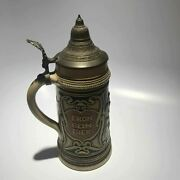German Lidded Beer Stein 10.5 Inches High - Free Shipping Usa
