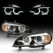 [factory Hid Model W/afs] For 07-10 Bmw X5 Dual Led Halo Drl Projector Headlight