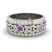 Certified Amethyst And G/si Diamond 14k White Gold Celtic Menand039s Wedding Band Ring