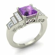 Certified Amethyst And Vs Diamond Engagement Ring In Solid 14k White Gold-1.71 Ct