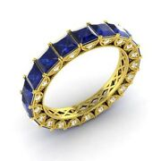 Certified 3.64 Ct Princess Sapphire And Diamond Eternity Band Ring 18k Yellow Gold