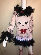Lights Up Cat Ugly Christmas Sweater