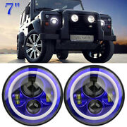 1 Pair 7and039and039 Led Round Headlight White Halo Hi-lo Angle Eye For Jeep Wrangler Blue