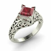Certified Ruby Solitaire Antique Vintage Look Engagement Ring White Gold-1.01 Ct