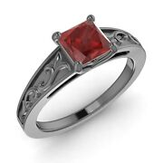 Certified 0.65 Ct Princess Ruby Vintage Solitaire Engagement Ring 14k Black Gold