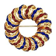 Brooch 18k Yellow Gold Enamel Red And Blue Wreath Pin - Italy - Vintage Jewelry