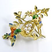 Brooch 18k Yellow Gold The Birdand039s Nest Enamel Pin With Pearls And Red Ruby