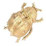 Brooch 14k Yellow Gold Ladybug Textured Finish Pin - Vintage Estate Jewelry