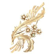 Brooch 14k Yellow Gold Floral Spray Pin With Opals - Vintage Estate Jewelry