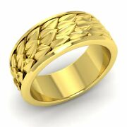 Vintage Inspired Mens Wedding Anniversary Band/ring 10k Yellow Gold-8.5 Mm Width