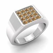 Certified 0.51 Ctw Real Brown Diamond 14k White Gold Mens Signet Engagement Ring