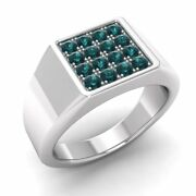 Certified 0.51 Ctw Real Blue Diamond 14k White Gold Mens Signet Engagement Ring