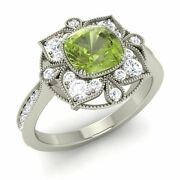 Certified Peridot And G/si Diamonds 14k White Gold Vintage Look Engagement Ring