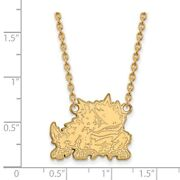 Texas Christian University Horned Frogs Mascot Pendant Necklace In Yellow Gold