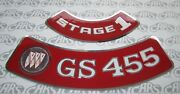 1970-1974 Buick Gs 455 Stage 1 Embossed Air Cleaner Decal. Gs Gsx Riviera