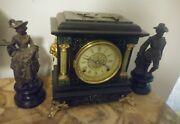 Pair Of Antique Spelter Statues Clock Toppers Victorian Style