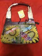 Anuschka Hand-painted Leather Zip Top Dual Front Pocket Hobo Tuscan Paradise
