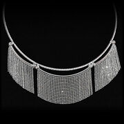 Necklace 14k White Gold Twisted Cable W/ Faceted Fringe Bib Statement 17and039and039 Long