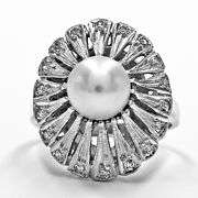 Ring 14k White Gold Filigree Pearl And Diamond Accents Cocktail Size 5.75 Vintage
