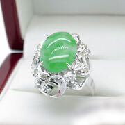 Recent Estate Jewellery Jade And Diamond Cocktail Ring In White Gold 5.93 Tcw
