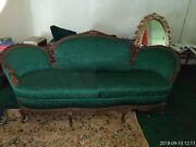 Antique Victorian Green Sofa Settee Loveseat Tufted Carved Wood Vintage